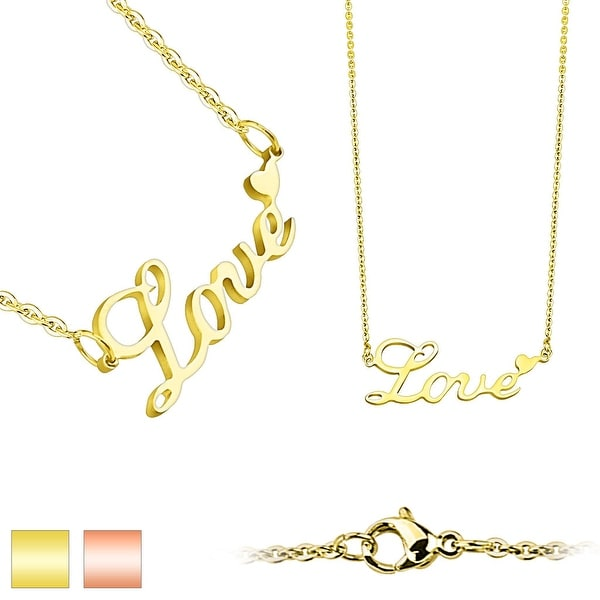 Love Lettering with Heart Pendant 316L Stainless Steel Chain Necklace (1.5 mm) - 20 in