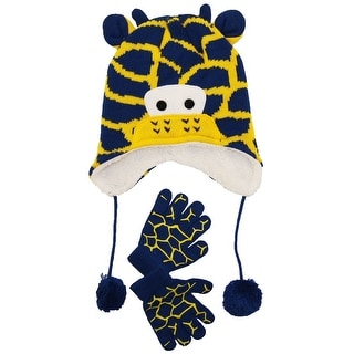 Wippette Toddler Boys Winter Sherpa Lined Giraffe Micro Hat and Glove Set 2T-4T
