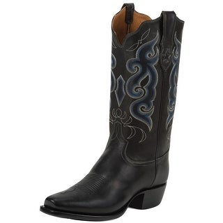 Tony Lama Western Boots Mens Leather Cowboy Calf Stitched Black 1031