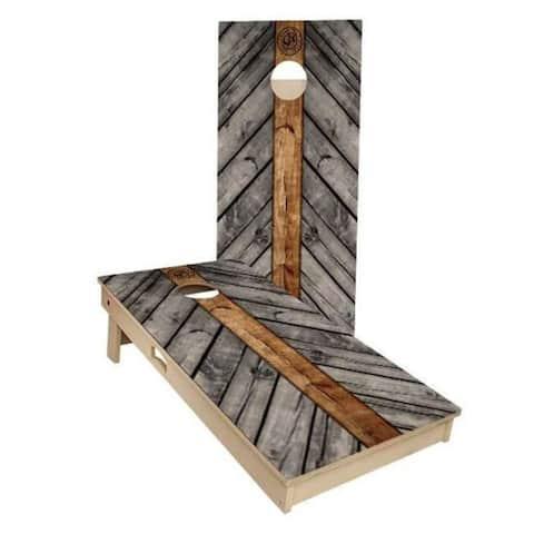 Grey Wood Lines Cornhole Set - Choose Your Size & Accessories