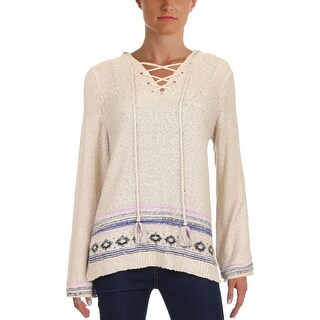 Democracy Womens Hooded Sweater Knit Lace-Up - M