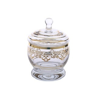 Glass  Jar with Lid with Rich Gold Artwork