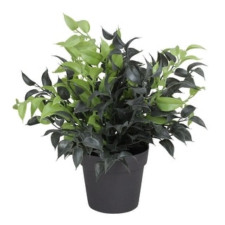 """9.5"""" Green and Brown Potted Artificial Spring Foliage - N/A"""