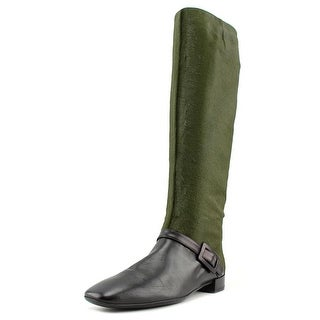 Roger Vivier Botte Mini Buckle T.25 Square Toe Leather Knee High Boot