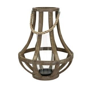 IMAX Home 16202  Bacchus Wood Pillar Lantern Candle Holder - Brown