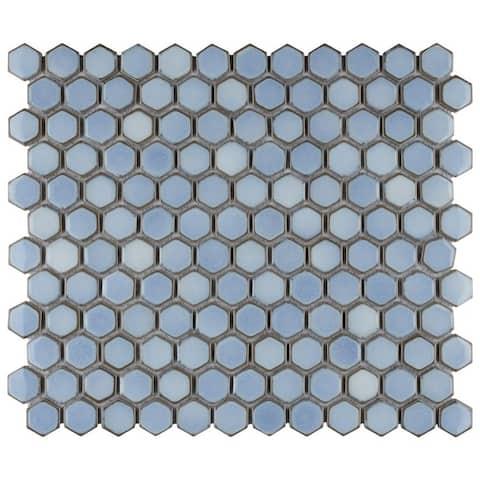SomerTile Hudson 1 in. Hex Frost Blue 13-1/4 in. x 11-7/8 in. x 5mm Porcelain Mosaic Tile