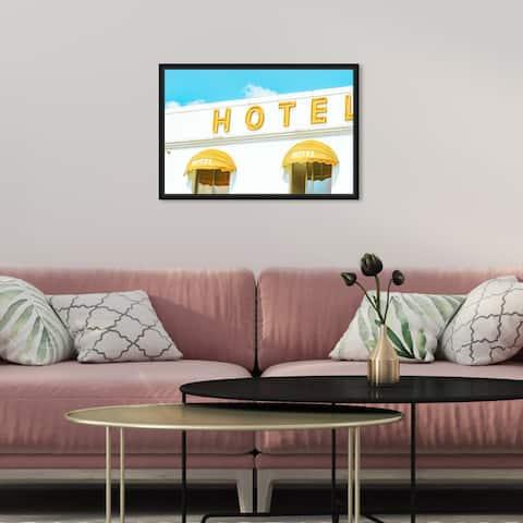 Oliver Gal 'Yellow Hotel Retro' Yellow Wall Art Canvas Print