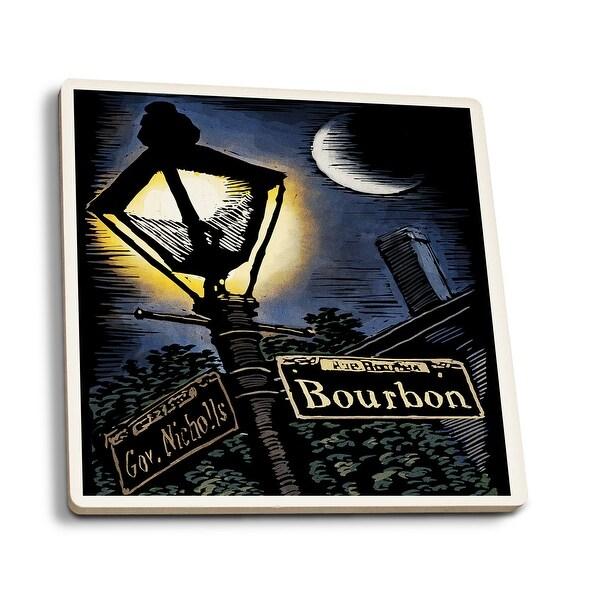 Shop New Orleans Louisiana Bourbon Street Lamppost Scratchboard