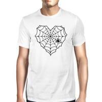 Heart Spider Web T-Shirt Halloween Mens White Round Neck Tee Shirt