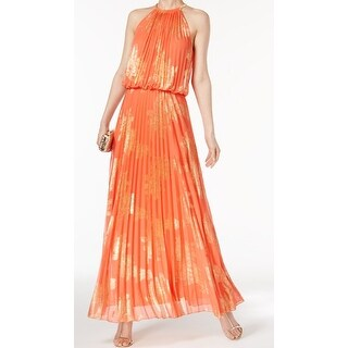 MSK Orange Gold Womens Size 16 Halter Floral Metallic Gown Dress