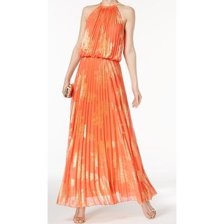 MSK Orange Womens Size 12 Printed Foil Pleated Halter Maxi Dress