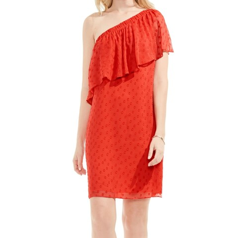 Vince Camuto Red Women's Size 10 Dot Jacquard One Shoulder Dress
