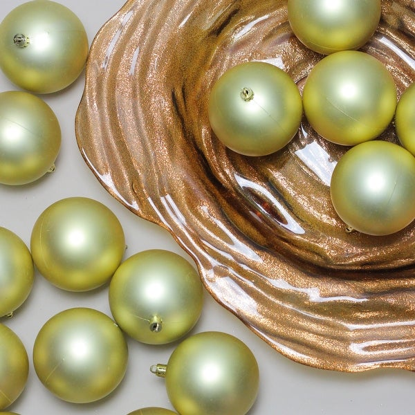 """32ct Champagne Gold Shatterproof Matte Christmas Ball Ornaments 3.25"""" (80mm)"""