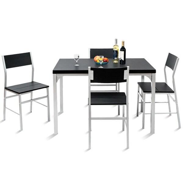 Costway 5 Piece Dining Table U0026amp; Chairs Set Wood Metal Kitchen Breakfast  Furniture Black