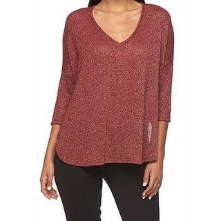 Bobeau NEW Red Women's Size Large L V-Neck Shimmer Knit Dolman Sweater