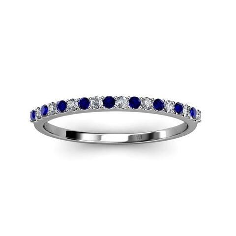 TriJewels Blue Sapphire Diamond 1/4 Wedding Band Stackable 14K Gold