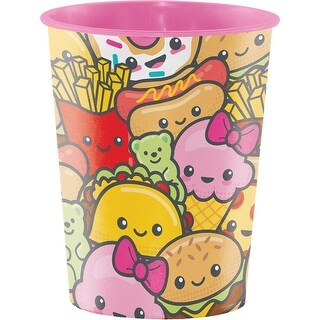 """Club Pack of 12 Yellow and Pink """"Junk Food Fun"""" Keepsake Cups 4.5"""