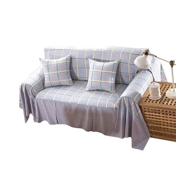 Checks Pattern New Style Three Seat Sofa Slipcovers 195 X 300