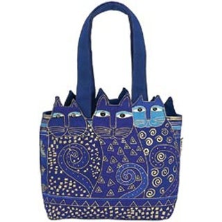"Tres Gatos - Blue & Gold - Medium Tote Zipper Top 12""X3.5""X8.5"""