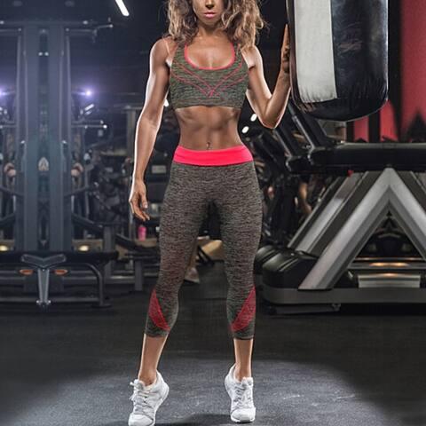 2-Piece: Seamless Sports Bra & Capri Leggings Yoga Set