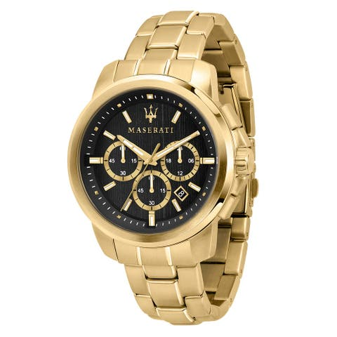 Maserati Watch R8873621013 Successo Chronograph, 24-Hour Time Display, Date Window-Gold / Black - Gold