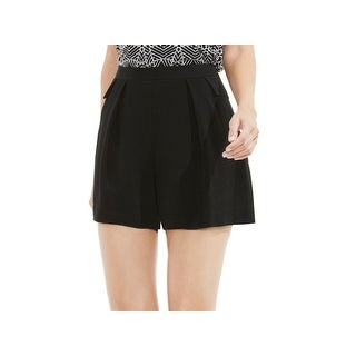 Vince Camuto NEW Rich Black Womens 10 Pleated Patch-Pocket Woven Shorts