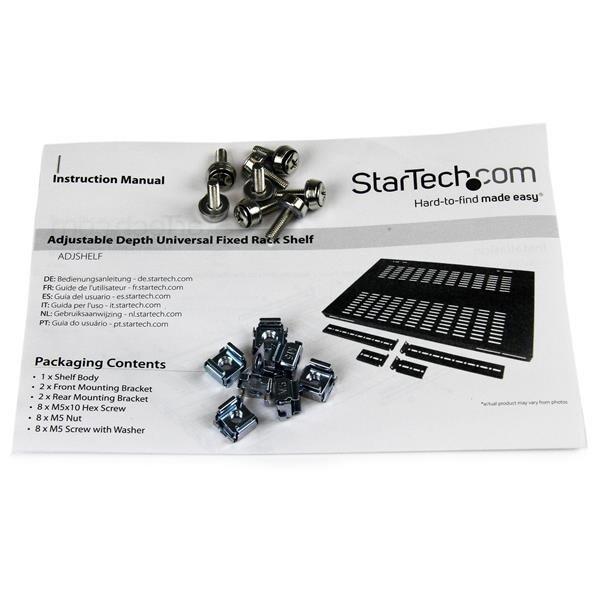 Startech 1U Adjustable Mounting Depth Vented Rack Mount Shelf - 175Lbs / 80Kg - Fixed Server Rack Shelf