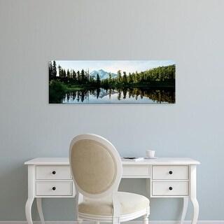 Easy Art Prints Panoramic Image 'Mountains, Picture Lake, Mt Shuksan, North Cascades Park, Washington' Canvas Art