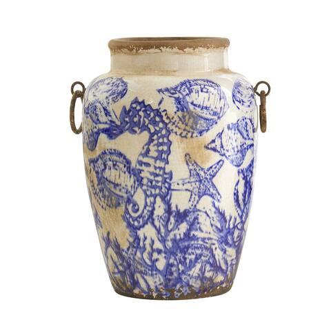 """10.5"""" Nautical Ceramic Urn Vase"""