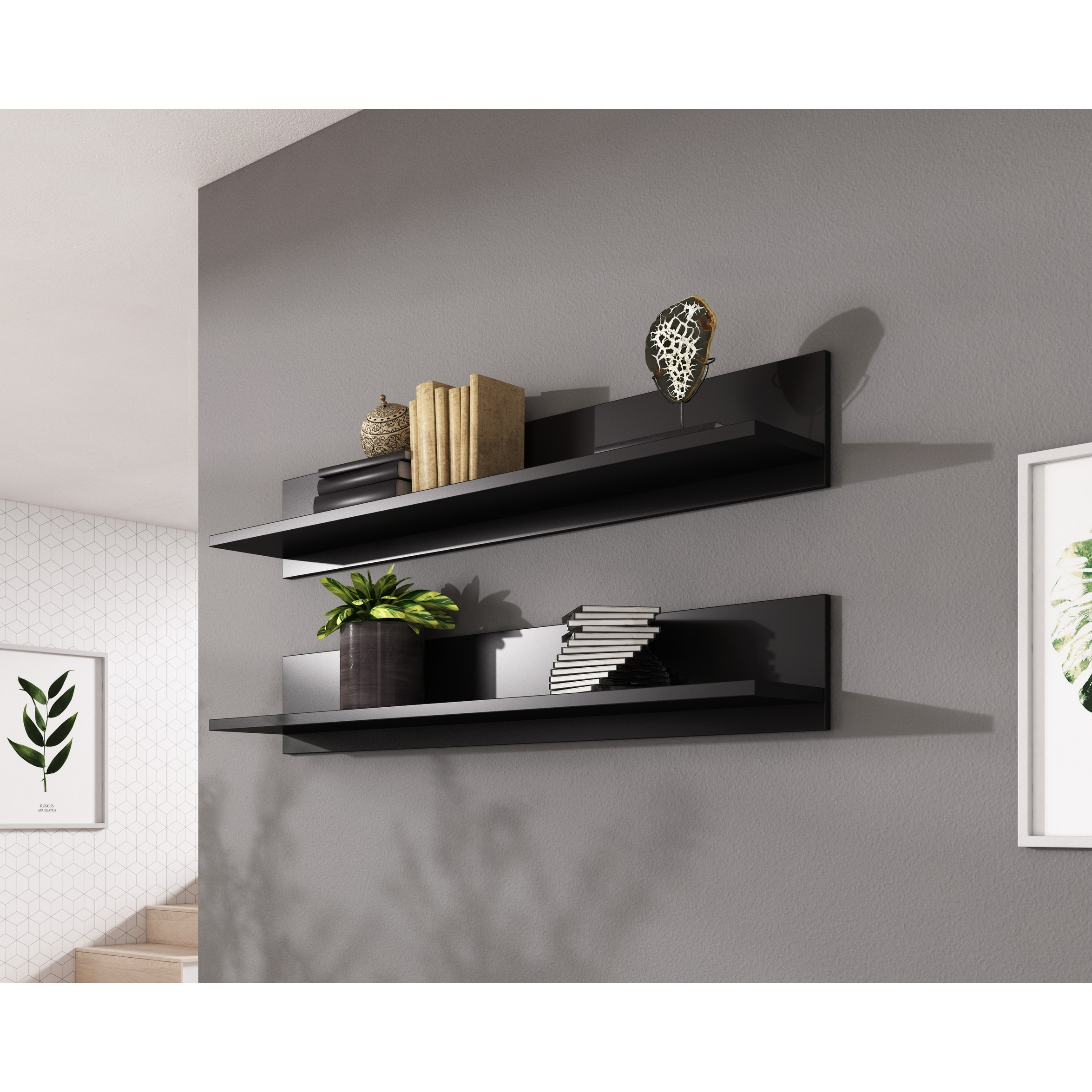 Soho S5 Modular Modern Wall Mounted Floating 2 Piece Shelf Set On Sale Overstock 29139346