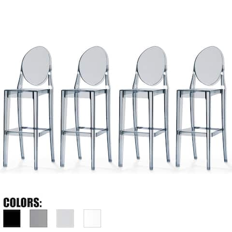"""2xhome Set of 4 Smoke Modern 30"""" Seat Bar Stool Counter Height with Back Transparent Crystal Kitchen Home Restaurant Commerical"""
