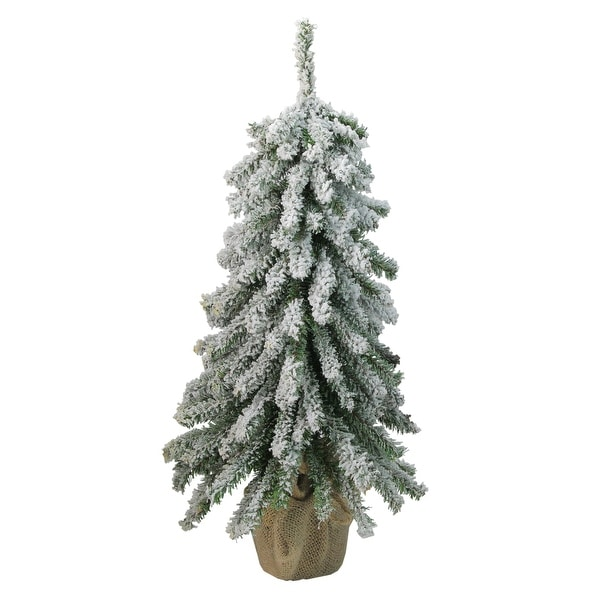 "18"" Flocked Downswept Mini Village Pine Artificial Christmas Tree in Burlap Base - Unlit - 1.5 Foot"