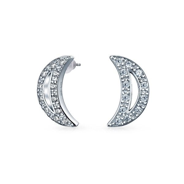 a92885ea3 Shop Celestial Cubic Zirconia Pave CZ Crescent Shaped Moon Stud Earrings  For Women For Teen 925 Sterling Silver - On Sale - Free Shipping On Orders  Over $45 ...