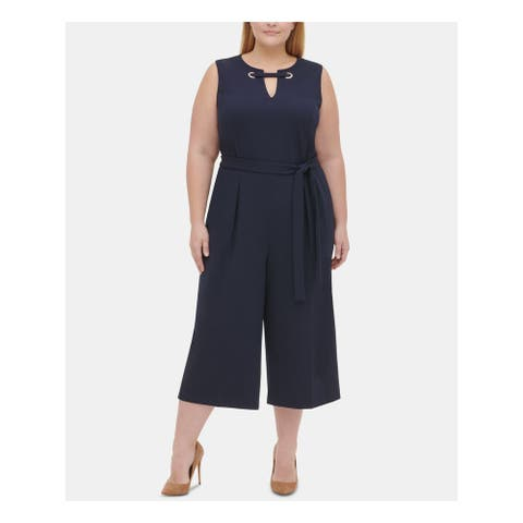 TOMMY HILFIGER Womens Navy Sleeveless Keyhole Jumpsuit Size 18W
