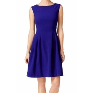 Vince Camuto NEW Blue Women's Size 6 Jeweled Neck Pleated A-Line Dress