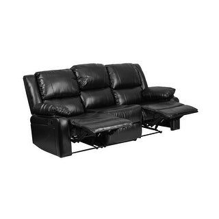 Offex Harmony Series Black Leather Sofa with Two Built-In Recliners