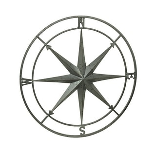 Weathered Silver Finish Framed Compass Rose Metal Wall Hanging
