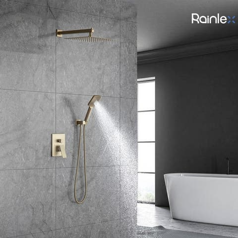 """Rainlex Wall-Mounted Dual Functions 10"""" Rainfall Shower Head Brushed Gold Shower Fixture with Hand Shower"""