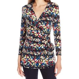 Anne Klein NEW Blue Women's Size XL Floral Print Faux-Wrap Blouse