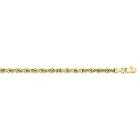 10K Yellow Gold 3mm Polished Semi-solid Rope Chain by Versil