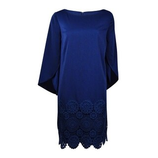 Tahari Women's Lace-Overlay Bell Dress - Navy