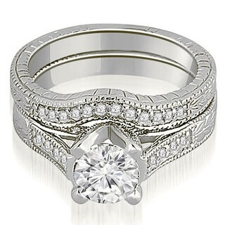 1.25 CT.TW Antique Cathedral Round Cut Diamond Engagement Set - White H-I