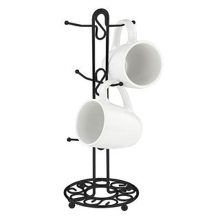 Home Basics Scroll Design Mug Tree, Black, 6x15 Inches