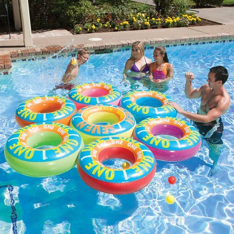"""76"""" Reversible 2 in 1 Vibrantly Colored Inflatable Tube Swimming Pool Games"""