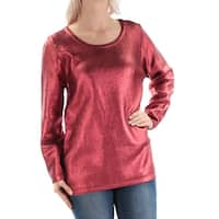 FAIRCHILD Womens Red Metallic Long Sleeve Jewel Neck Sweater  Size: S