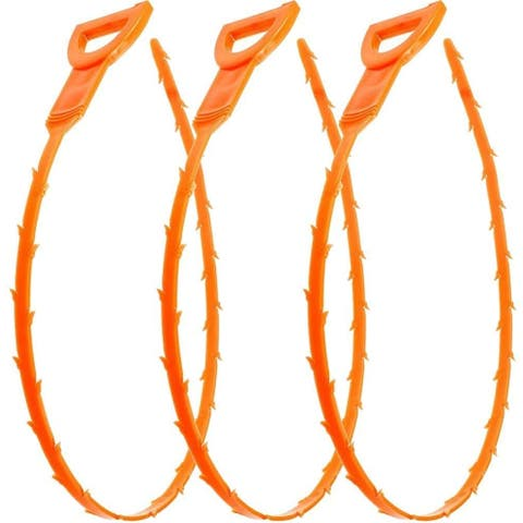 Cheer Collection 3 Pack 19.6 Inch Drain Snake Hair Drain Clog Remover Cleaning Tool