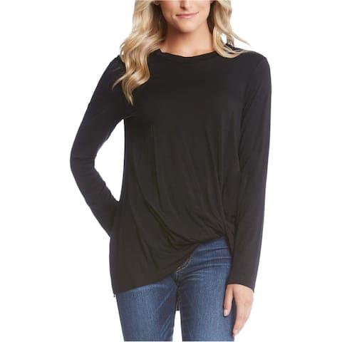 Karen Kane Womens Twist-Hem Basic T-Shirt, Black, X-Small