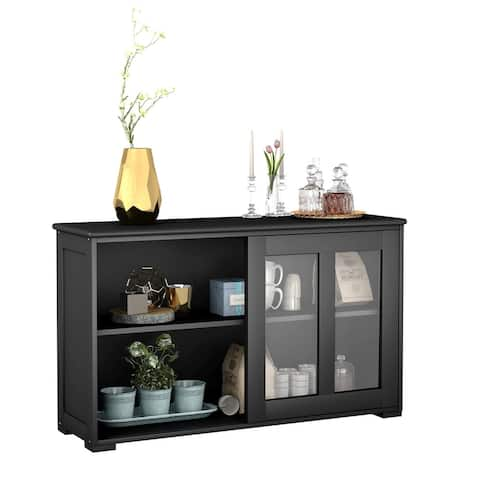 Sideboard Buffet Cupboard Storage Cabinet with Sliding Door - Black