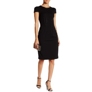 Betsey Johnson Puff Cap Sleeve Faux Leather Trim Sheath Dress Black
