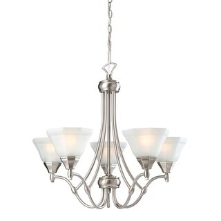 Design House 604660 Barcelona 26 Inch Wide 5 Light Chandelier with Frosted Glass Shades